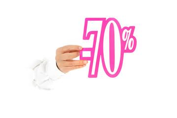 Seventy percent discount sign, hand.