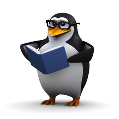3d Penguin book worm