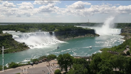 Niagara Falls showing both the Canadian and American falls.