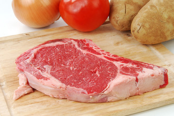 Uncooked rib eye steak