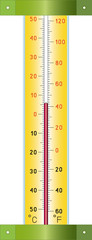 street thermometer measuring hot and cold temperature