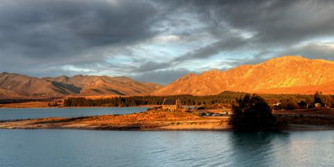 church by a glacier lake