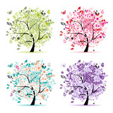 Fototapety Set of floral trees beautiful for your design