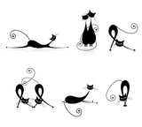 Graceful cats silhouettes black for your design - 28119290