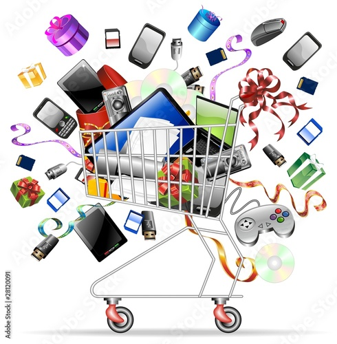 Carrello Spesa Tecnologico-Technological Shopping Cart-Vector