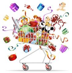 Carrello Spesa Giocattoli-Toys Shopping Cart-Vector