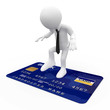 Man on top of a blue credit card