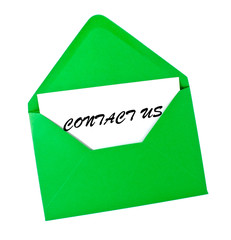Contact us card in green envelope