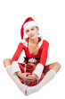 sexy girl wearing like santa claus with gift box  isolated
