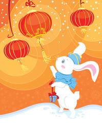 White rabbit - symbol of Chinese horoscope for New Year