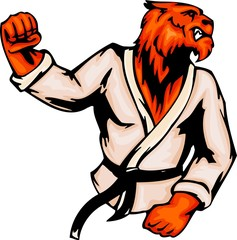Angry tiger the judoist. Sport mascot animals.