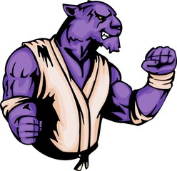 The violet grinned tiger - judoist. Sport mascot animals.