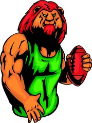 Lion with a ball for Rugby football. Sport mascot animals.
