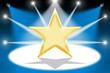 Gold star with light beams - Blue background