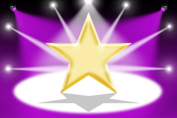 Gold star with light beams - Mauve background