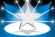 Silver star with light beams - Blue background