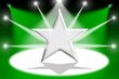 Silver star with light beams - Green background
