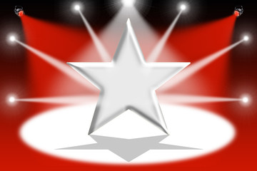 Silver star with light beams - Red background
