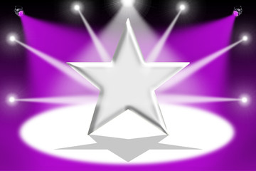 Silver star with light beams - Mauve background