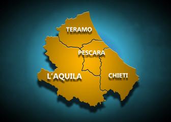 Abruzzo - Province su fondo blu