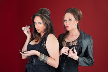 Two New Jersey style housewives do makeup and nails