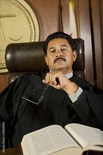 Pensive judge in court