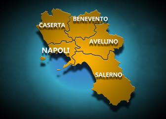 Campania - Province su fondo blu