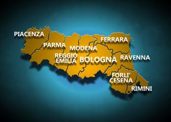 Emilia Romagna - Province su fondo blu