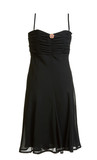 Black evening satin gown with brooch poster