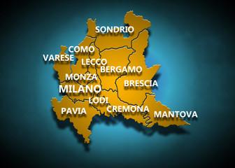 Lombardia - Province su fondo blu