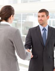 Businessman shaking hands with a businsswoman