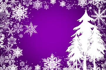 Eiskristalle und Schneetannen auf weihnachtlichem Lila