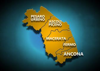 Marche - Province su fondo blu