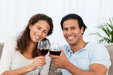 Happy couple drinking red wine sitting on the sofa