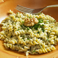 fusilli with sauce from blue cheese and walnuts