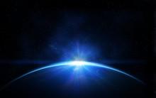 """Постер, картина, фотообои """"Planet earth with sunrise in space"""""""