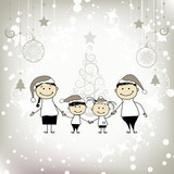 Fototapety Happy family smiling together, christmas holiday