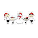 Šťastná rodina a sněhulák, vánoční prázdniny