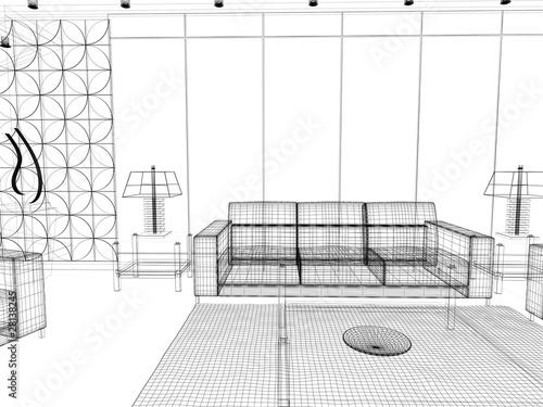 Salotto rendering 3d divano illustrazione disegno interior for Divano disegno