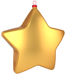 Christmas star shape bauble total golden. Xmas decoration