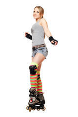Attractive young blonde on roller skates