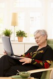 Modern pensioner with laptop poster