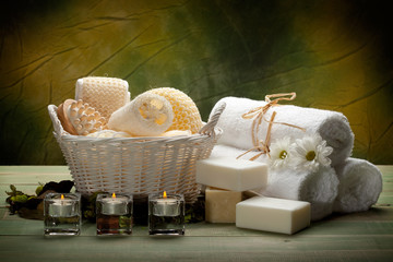 Spa - towels, soap, candles and massage tools