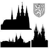 famous landmarks of Prague - vector poster