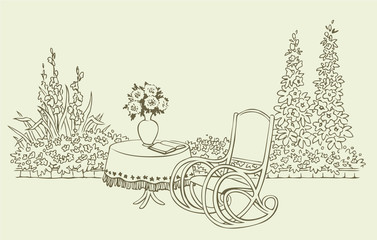 A cozy rocking chair in a flowering garden