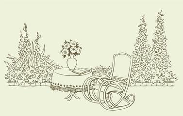 A cozy rocking chair in a flowering garden