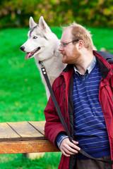 Siberian Husky with a man