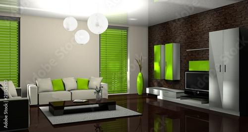 3d wohnzimmer gr n stockfotos und lizenzfreie bilder auf bild 28152610 - Wohnzimmer streichen muster ...