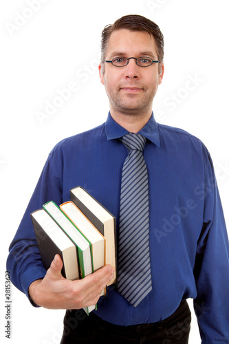 male nerdy geek carry books over white background