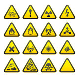 Set of Triangular Warning Hazard Signs poster